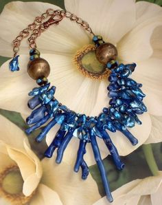 Chunky Tribal  Style Cobalt Coral Necklace #212 | GracefulDesigns - Jewelry on ArtFire