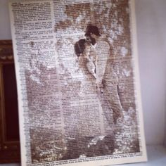Print photos on old book pages. Beautiful way to celebrate a love story!!!