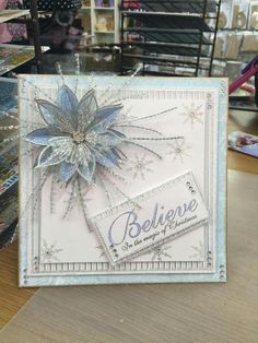 card christmas poinsettia iceblue frozen colour tone silver Stamps by Chloe made by Chloe Endean Christmas Card Crafts, Homemade Christmas Cards, Christmas Cards To Make, Xmas Cards, Homemade Cards, Stampin Up, Poinsettia Cards, Christmas Poinsettia, Chloes Creative Cards