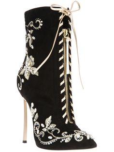 Casadei Embroidered Stiletto Boot - - Farfetch.com