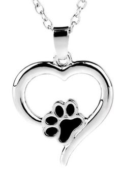 Heart Pet Paw Print Dog Cat Charm Pendent Memorial Necklace - FREE SHIPPING!  | eBay