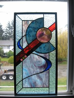 Stained Glass Abstract-design Window. $175.00, via Etsy.