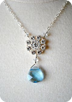 Items similar to Rhinestone Bridal Necklace, Something Blue Wedding Necklace, Sterling Silver, Snow Flake Winter Wedding, Pendant, Elegant, Swarovski Crystal on Etsy