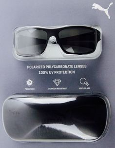 3dd7e24cf7 PUMA Sunglasses Polarized Poly 100 UV Protection Polar Smoke Black 710027