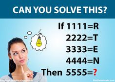IF 1111=R Then 5555=? Math Puzzles Only for Genius With Answer - http://picsdownloadz.com/puzzles/if-1111r-then-5555-math-puzzles-only-for-genius-with-answer/