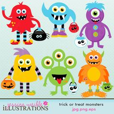 Trick or Treat Monsters clipart set comes with 6 cute cliparts including: 6 halloween monsters in red, green, blue, purple, orange and yellow with various trick or treat bags.