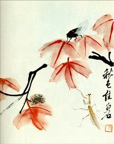 """Chinese Sweetgum and the cicada"" by Qi Baishi (Chinese), 1950"
