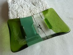Glass Soap Dish in Mineral and Fern Green