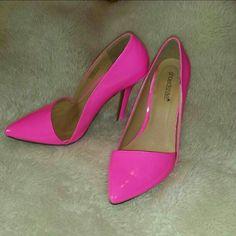 Tonight onlyBarbie pink heels Shoe dazzle  Barbie pink Size 8.5   Only worn a few times 4.5 inch heel  No trade Shoe Dazzle Shoes Heels