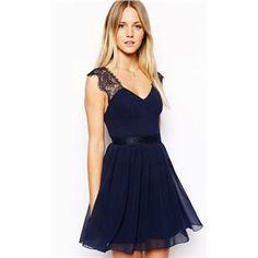 rückenfreies Kleid aus Chiffon mit Spitzedetail, blau | Berlinmo