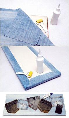 denim organization wall back pockets  http://www.diy-enthusiasts.com/diy-home/diy-ideas-recycling-denim-jeans/