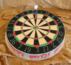 - Dartboards are A LOT harder than they look.  This one nearly got tossed out the window LOL!!  Butter cake, coconut buttercream topped with fondant and fondant details with a  gumpaste dart. Inspired by the many great dartboard cakes here on CC.  TFL.