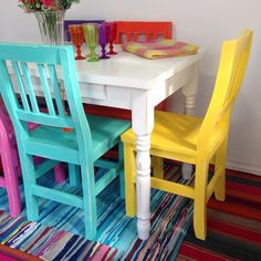 MUEBLES DE ESTILO PINTADOS A MANO Painted Furniture, Diy Furniture, Diy Home Decor On A Budget, Kitchen Remodel, Repurposed, Dining Chairs, Household, Sweet Home, Diy Projects