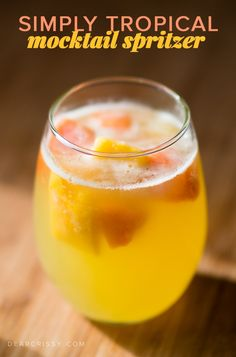 Simply Tropical Mocktail Spritzer - This cool and refreshing non-alcoholic spritzer is fizzy and delicious!