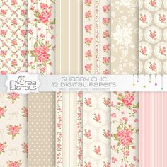 Beige and coral Shabby chic 12 digital papers by CreaDigitals