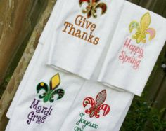 fluer de lis crochet patterns | Fleur de Lis Holiday Kitchen Towel - Set of 3 ...