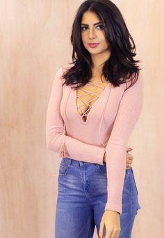 Long Sleeve Ribbed Lace Up Body in Dusky Pink - One Nation Clothing - Glamorous - 1