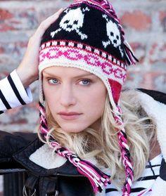 Free knitting pattern for Ski Skulls chullo style hat