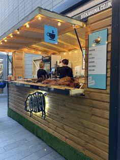 Hog Roast kiosk at Liverpool 1 Cafe Shop Design, Small Cafe Design, Kiosk Design, Restaurant Interior Design, Signage Design, Food Stall Design, Food Cart Design, Food Truck Design, Container Bar