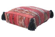 Moroccan Terracotta Wool Pouf