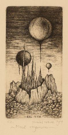Bookplate (or ex libris) by Zdenek Bugan, 1984.