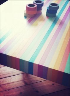 Best IKEA hack ever: washi tape a boring table. | 56 Adorable Ways To Decorate With Washi Tape