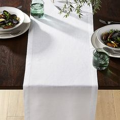 Helena White Linen Table Runner