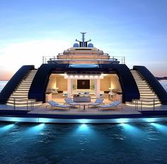 Mega Yacht lifestyle by our great friend by worldwide_luxury Yacht Design, Boat Design, Luxury Yacht Interior, Luxury Cars, Luxury Travel, Private Yacht, Cool Boats, Small Boats, Luxury Homes Dream Houses