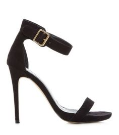 "Barely there sandles from new look. Bought them for £24.99 BEST fitting and NICEST looking on the feet I've found yet! ""Black Suedette Ankle Strap Open Toe Heels"""