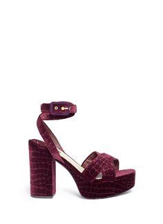 f55a971a354 ASH  Boom  Croc Embossed Velvet Platform Sandals.  ash  shoes  sandals