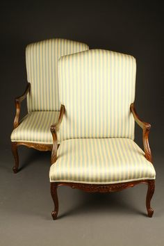 Nice pair of French Louis XV style bergere chairs, circa 1920's. #antique #chairs