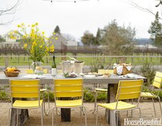 Designer Jean Larette chose the Janus et Cie Balcony chairs to match the wild mustard flowers surrounding Napa roadsides.