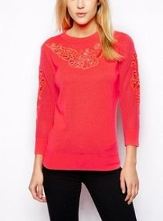 Ted Baker Sweater with Cut Out Detail in Bright Pink worn by Hanna Marin on Pretty Little Liars. Shop it: http://www.pradux.com/ted-baker-sweater-with-cut-out-detail-in-bright-pink-30812?q=s15
