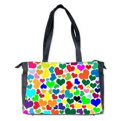 valentine rainbow hearts Diaper Bag