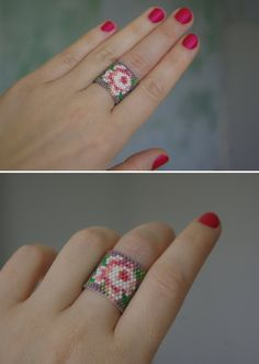 Bead-work floral ring band. Designed and created by nepinka. The very tiny glass beads are carefully stitched to one another (ring consists of app. 500!