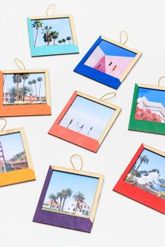 Pick a handful of Instagram photos you know your friend will love, and create these cute ornaments using th...