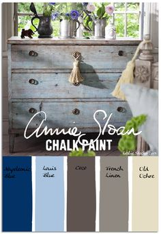 Annie Sloan Chalk Paint: Napoleonic Blue, Louis Blue, Coco, French Linen, Old Ochre Chalk Paint Projects, Chalk Paint Furniture, Diy Furniture, Furniture Vintage, Furniture Plans, Bedroom Furniture, Furniture Design, Annie Sloan Chalk Paint Dresser, Annie Sloan Paints
