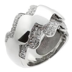 Van Cleef & Arpels Diamond White Gold Wave Ring   From a unique collection of vintage cocktail rings at https://www.1stdibs.com/jewelry/rings/cocktail-rings/