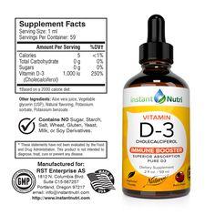 Vitamin D3 | Instant nutri Potassium Sorbate, 2000 Calories, 2000 Calorie Diet, Vitamin D, Serving Size, Drink Bottles, Aloe Vera, Vegetables, Food