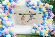 27 Ridiculously Fun Wedding Ideas You are in the right place about fun wedding themes fairy tales He Wedding Send Off, Post Wedding, Dream Wedding, Wedding Locations, Wedding Venues, Wedding Reception, Wedding Designs, Wedding Styles, Moon Bounce