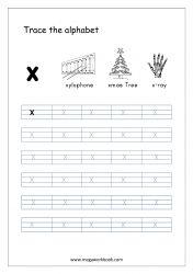 Alphabet Tracing Worksheet - Alphabet Tracing Sheets - Small Letter x Small Alphabet Letters, Alphabet Writing Practice, Alphabet Book, Preschool Phonics, Preschool Writing, Alphabet Tracing Worksheets, Tracing Letters, Prewriting Skills, Small Alphabets