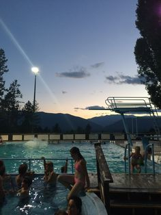 Watching the sunset never looked to good! Late night swimming at Fairmont Hot Springs Resort. #FHSR #FHSRsummer #hotsprings #cvtourism