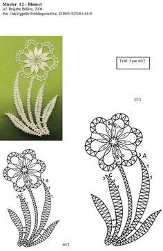 best ideas about Bobbin Lace Crochet Edging Patterns, Bobbin Lace Patterns, Flower Patterns, Lace Flowers, Crochet Flowers, Bobbin Lacemaking, Folk Embroidery, Point Lace, Lace Jewelry