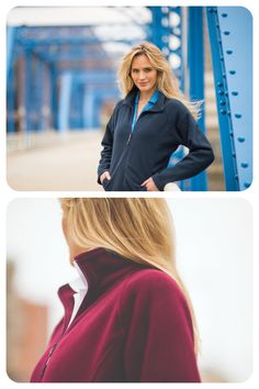 Ladies' mid-weight anti-pilling fleece zip-up jacket. Two open side pockets. Slim fit with princess seams and raglan sleeves and an open hem at the waist. Available in Navy, Dark Grey, Black, Red, Royal, and Maroon. Embroidery available! #fleece #microfleece #zipup #jacket #soft #fullzip