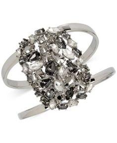 Kenneth Cole New York Silver-Tone Wide Openwork Glitter Bangle Bracelet - Silver