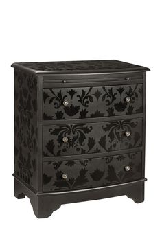 Like the idea of stenciling with high gloss paint. Dresser painted in black matte paint stenciled with black gloss paint. Furniture Projects, Furniture Makeover, Home Projects, Diy Furniture, Black Furniture, Furniture Refinishing, House Furniture, Repurposed Furniture, Furniture Redo