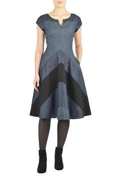 <3 this Chevron stripe colorblock chambray dress from eShakti