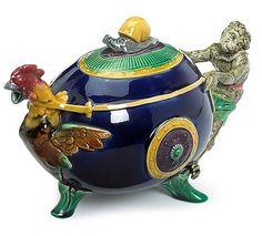 "Minton majolica ""Monkey & Cockerel"" teapot, circa 1876 - by Freeman's"