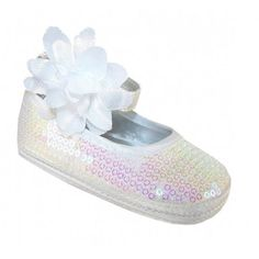 #Girls white sequin baby shoes