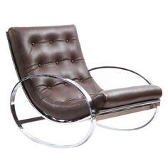 1stdibs | Milo Baughman Chrome & Leather Rocking Chair